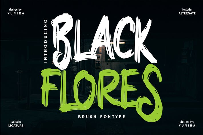 Black Flores | Brush Fontype