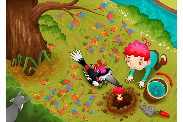 Thumbnail for Woodpecker and the Boy are Seeding an Apple Seed