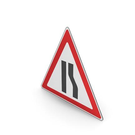 Verkehrszeichen Straße Narrows auf der rechten Seite