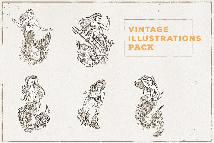Thumbnail for Vintage Mermaid Illustration Pack