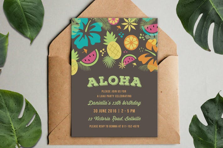 luau party invitation by clementinecreative on envato elements