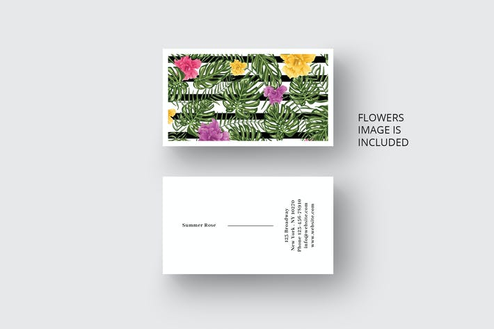 Thumbnail for Business card template with trendy flowers