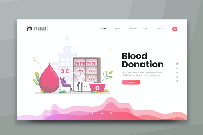 Thumbnail for Blood Donation Web PSD and AI Vector Template