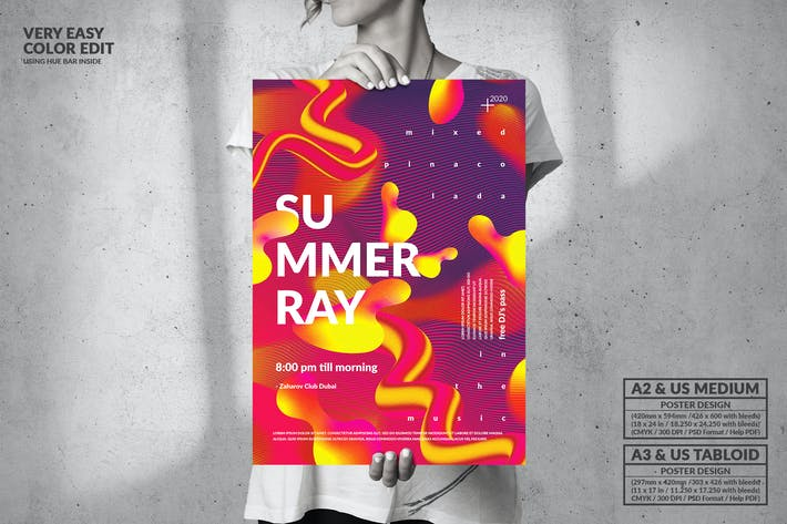 Thumbnail for Summer Ray Party Big Poster Design