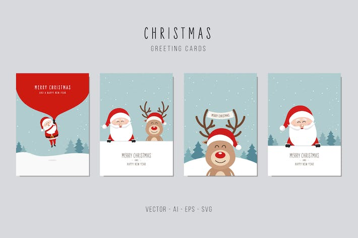 Thumbnail for Christmas Santa Claus and Reindeer Vector Card Set