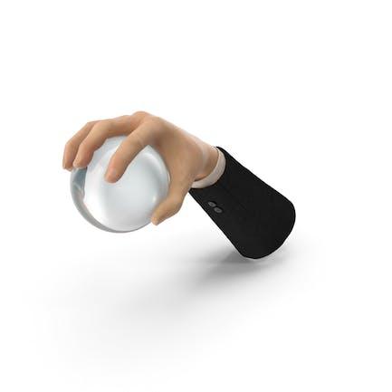 Anzug Hand Greifen einer Kristallkugel