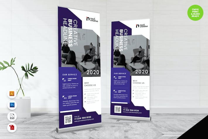 Thumbnail for Creative Roll Up Banner AI & PSD Template Vol.30
