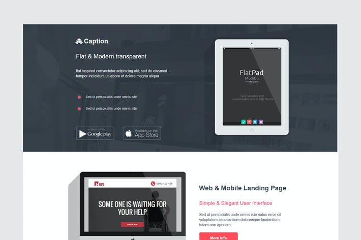 Thumbnail for Caption Flat Startup Landing Page