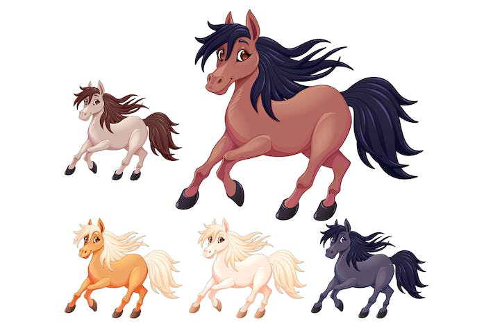 Thumbnail for Set of Different Cartoon Horses