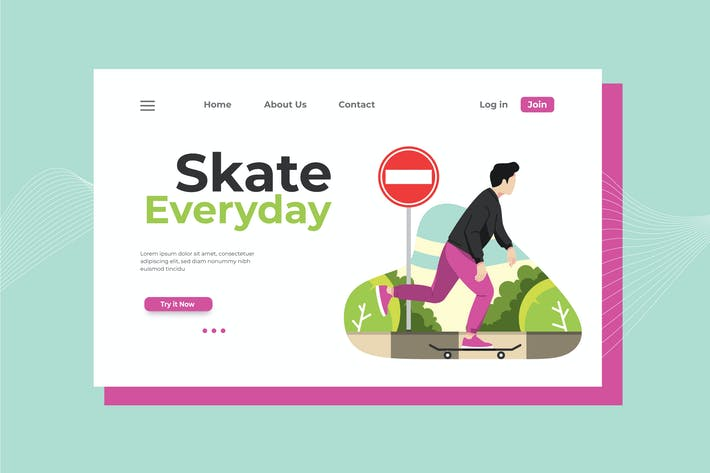 Thumbnail for Skate Everyday Landing Page Illustration