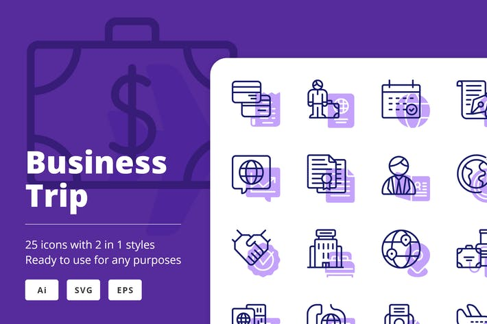 Thumbnail for Business Trip Icons (Line and Solid)