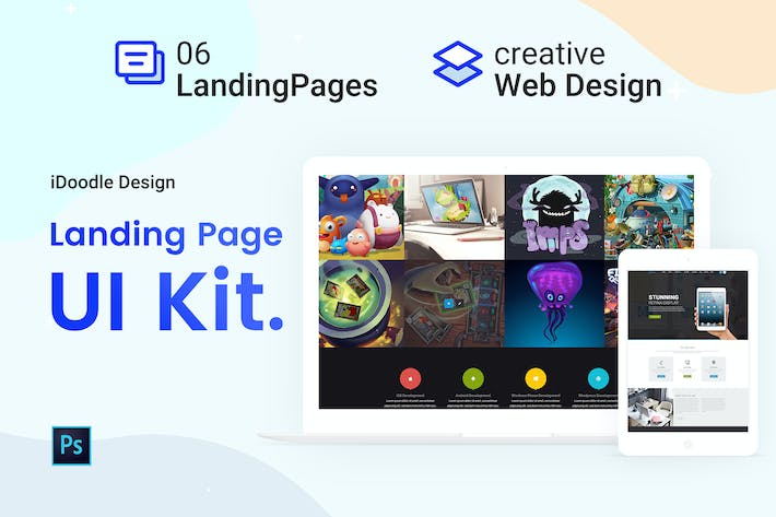 Thumbnail for UI Kits Landing Pages & Web design Template