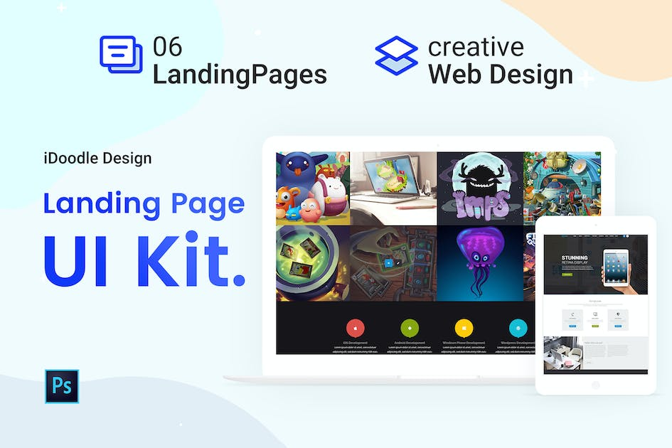 Download UI Kits Landing Pages & Web design Template by iDoodle