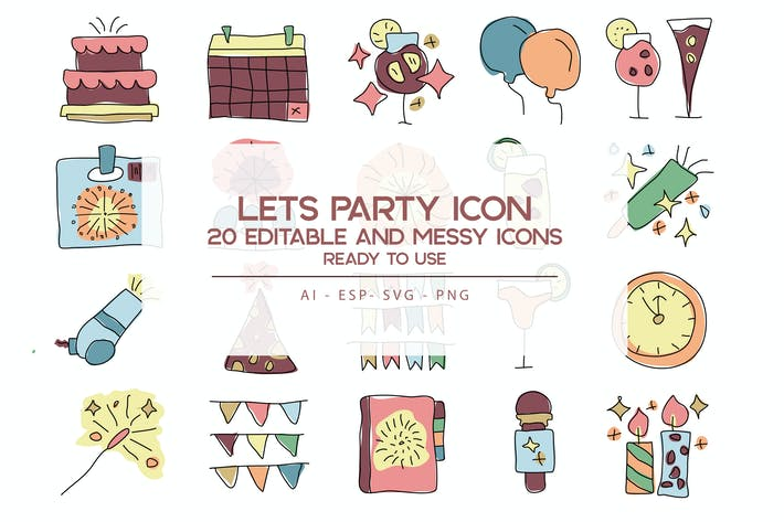 Thumbnail for Let's Party Icons Set