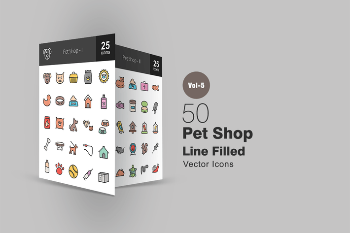 Thumbnail for 50 Pet Shop Line Filled Icons