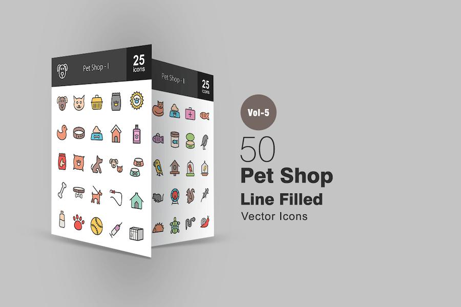 50 Pet Shop Line gefüllte Icons