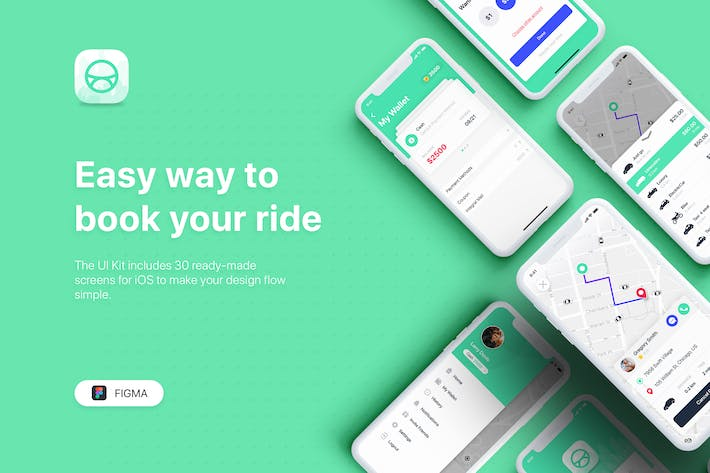 Thumbnail for ABER - Taxi Booking App UI Kit for FIGMA