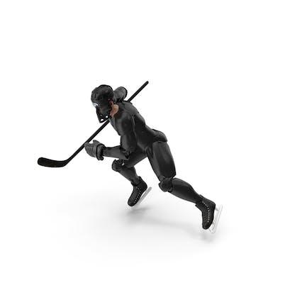 Humanoid Hockeyspieler mit Stock-Pose Schwarz