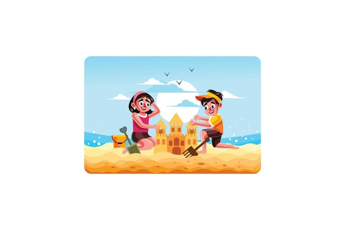 Cover Image For Children Building a Sand Castle on Beach