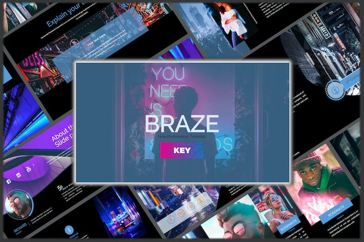 Thumbnail for Braze Dark Innovative Keynote Template
