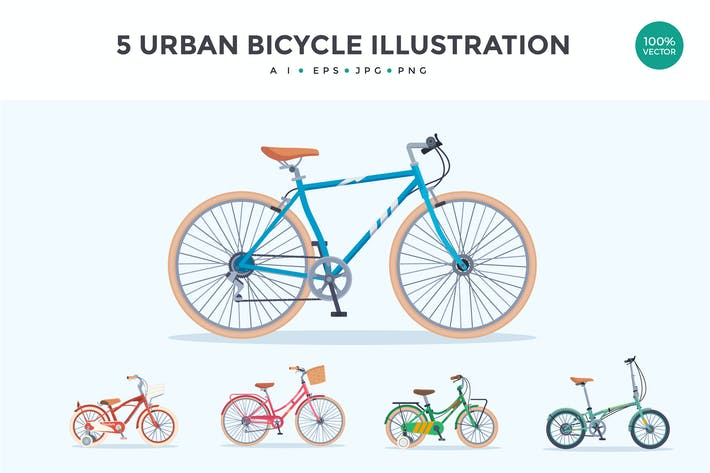 Cover Image For 5 Urban Bicycle Vector Illustration Set