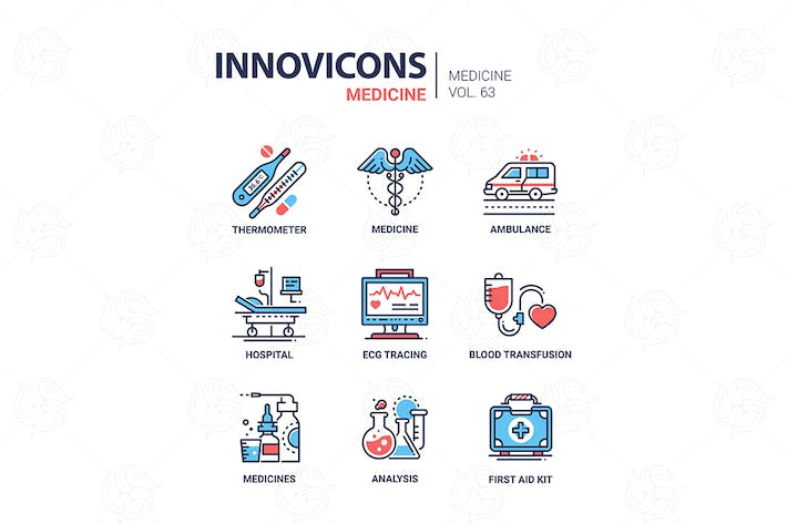 Medizin - Liniendesign Icons Set