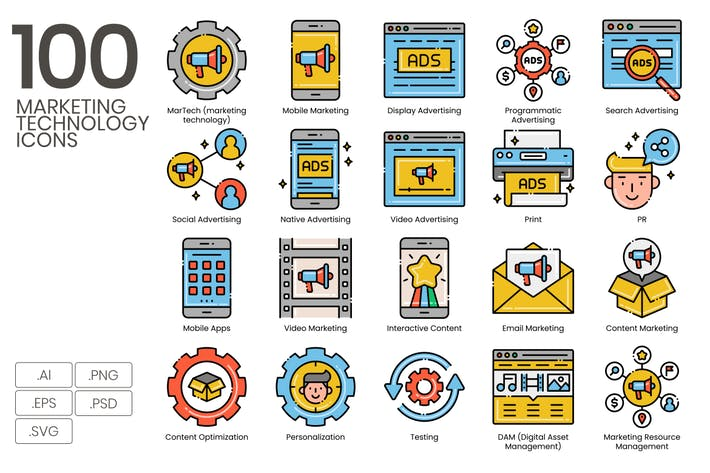 Thumbnail for 100 Marketing Technology Icons | Aesthetics Series