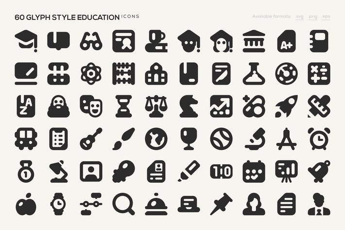 Thumbnail for 60 Glyph Style Education Icons