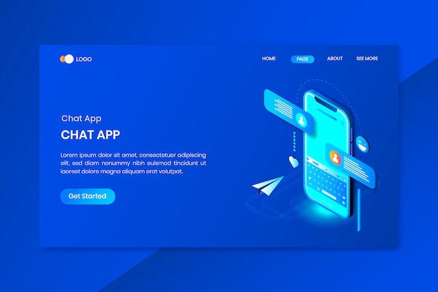 Application Chat Mobile Isometric Concept Landing