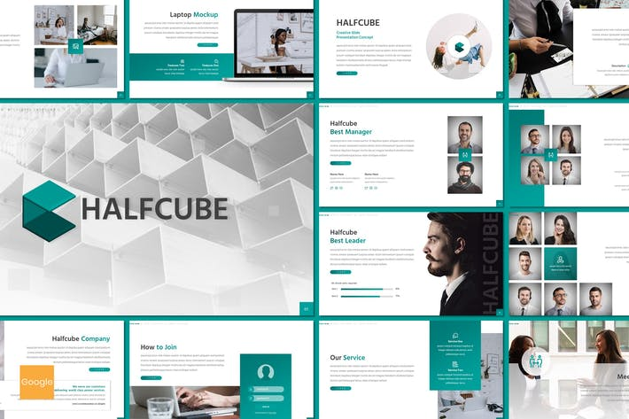 Thumbnail for Halfcube - Business Google Slides Template