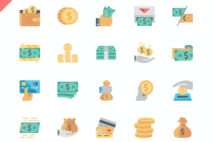 Thumbnail for Simple Set Money Flat Icons
