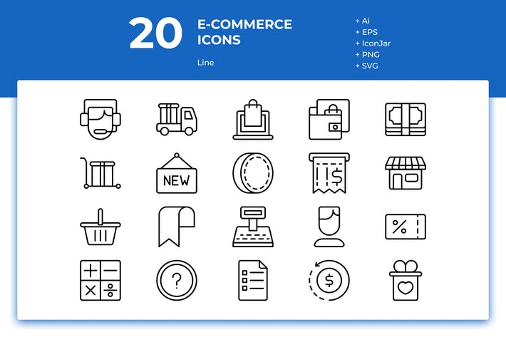 Thumbnail for 20 E-commerce Icons (Line)