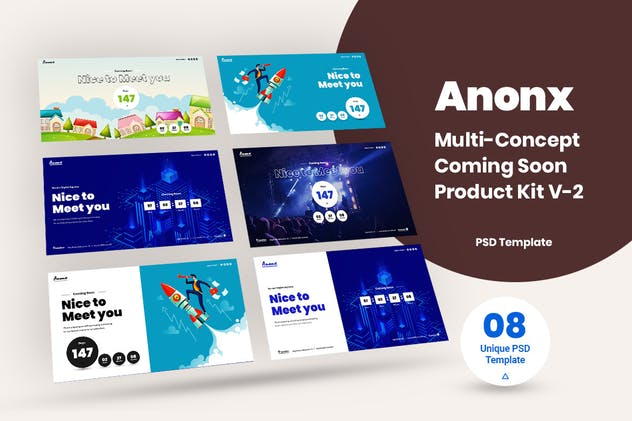 MUlti-Concept Coming Soon PSD Template Kit V-2
