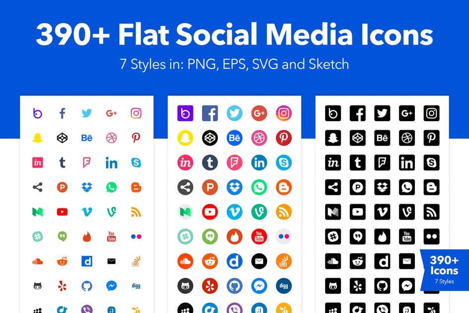 Download 390+ Social Media Icons for Sketch by CreativesCastle