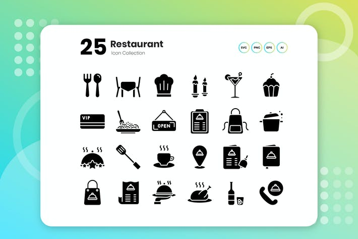 Thumbnail for 25 Restaurant Glyph Icon Set