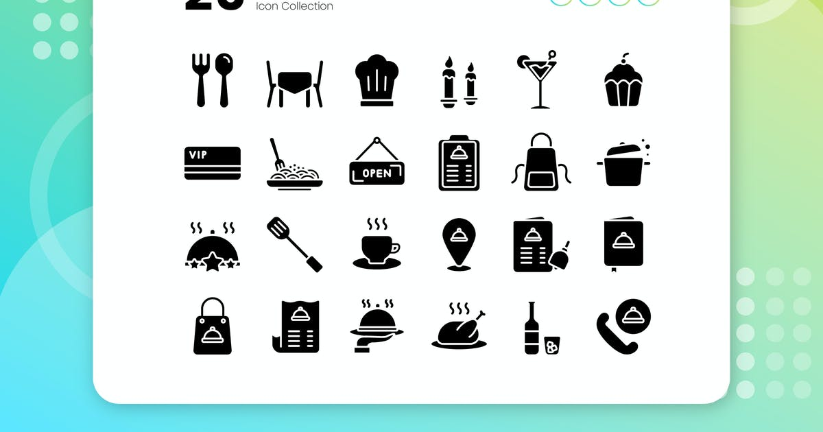 Download 25 Restaurant Glyph Icon Set by vectorclans