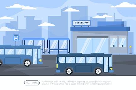 Busbahnhof - Hintergrund-Illustration