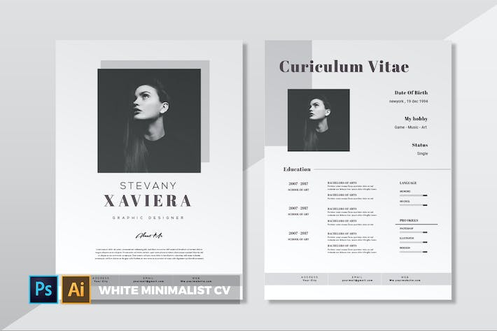 Thumbnail for White Minimalist | CV & Resume
