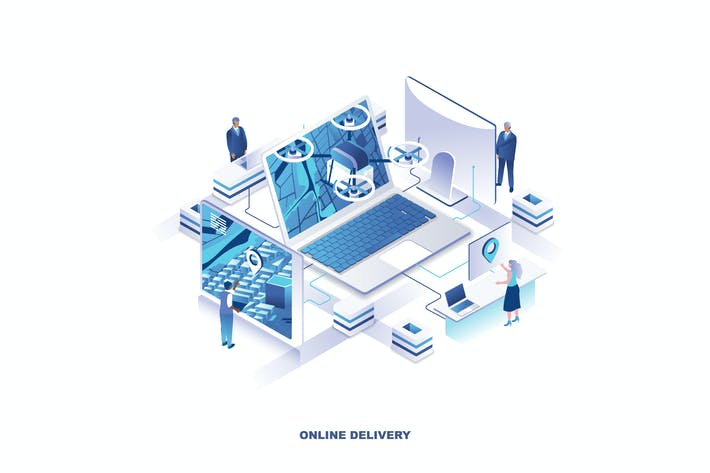 Thumbnail for Delivery Service Isometric Banner Flat Concept