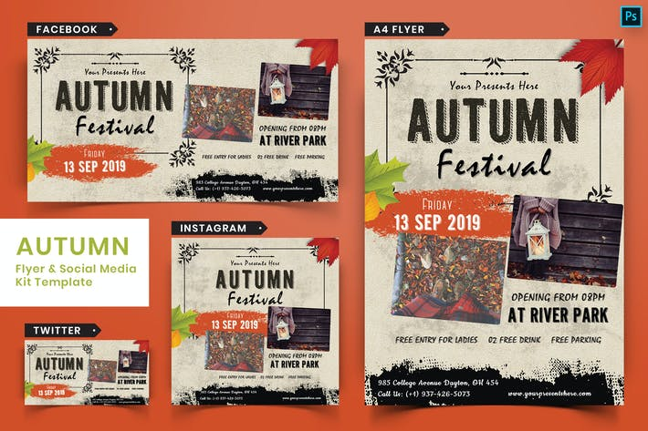 Thumbnail for Autumn Festival Flyer & Social Media Pack-04