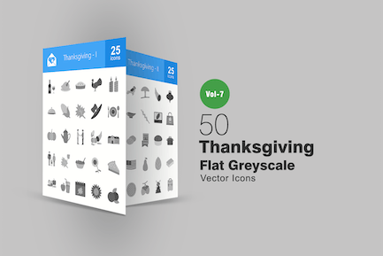 50 Thanksgiving Flat Greyscale Icons