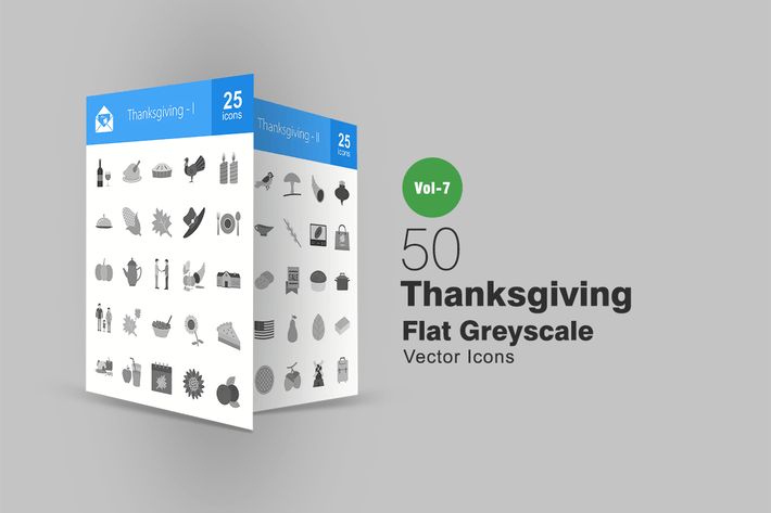 Thumbnail for 50 Thanksgiving Flat Greyscale Icons