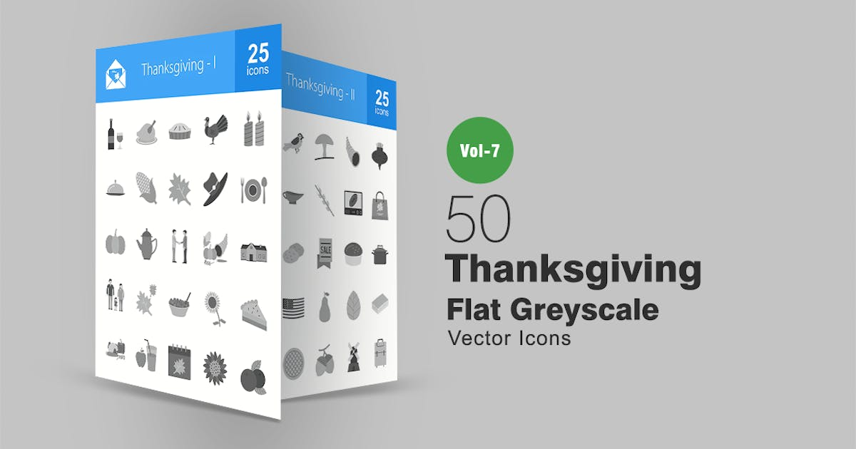 Download 50 Thanksgiving Flat Greyscale Icons by IconBunny