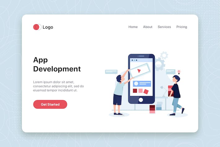 Thumbnail for Mobile app development concept landing page tempt