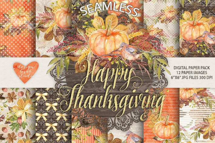 "Thumbnail for Watercolor ""Happy Thanksgiving"" digital papers"