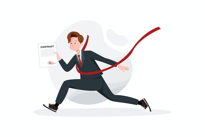 Thumbnail for Geschäftsmann mit Vertrag in der Hand bei einem Finishing