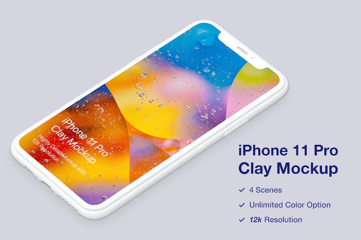 Thumbnail for iPhone 11 Pro Mockup - Clay Mockup Szenen