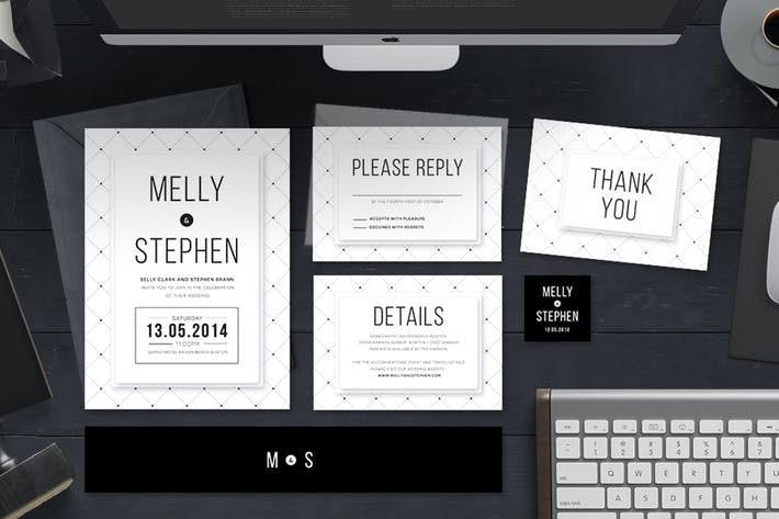 Thumbnail for Minimalist Wedding Invitation Set