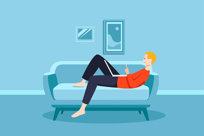 Thumbnail for Staying at home concept man on couch.