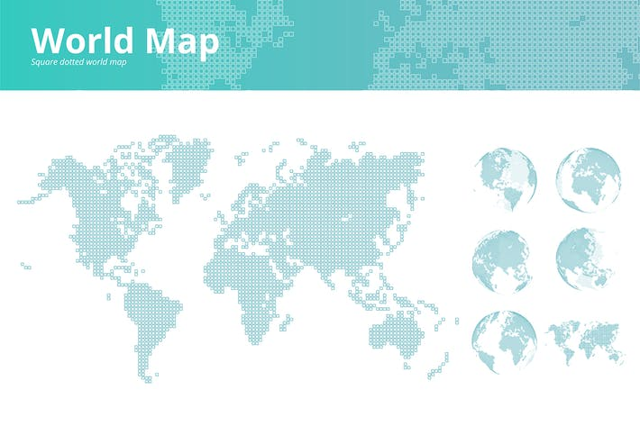 Thumbnail for Square dotted world map